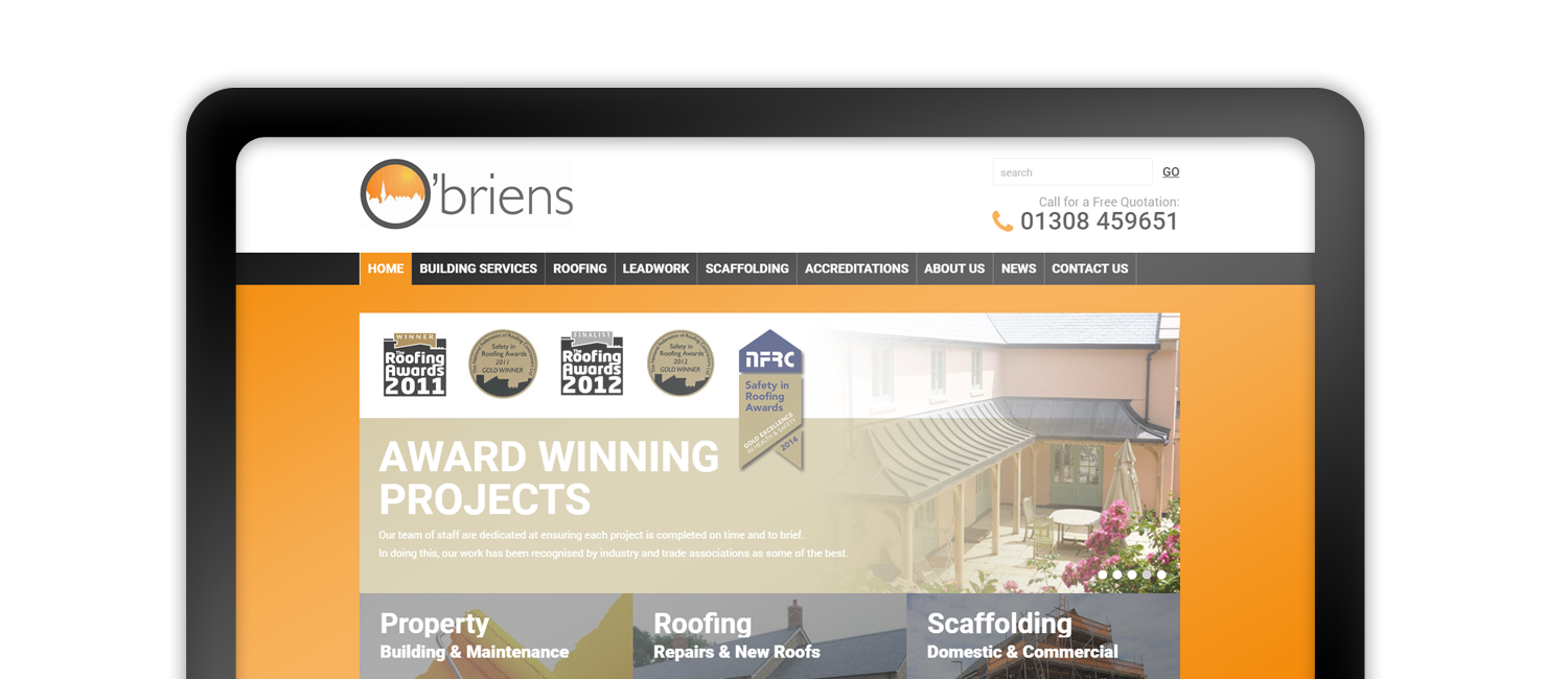 Obrien Roofing website